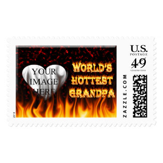 World's Hottest Grandpa fire and flames red marble Stamps