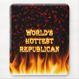 World's Hottest Republican fire and flames red mar Mouse Pad