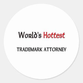 World's Hottest Trademark Attorney Round Sticker