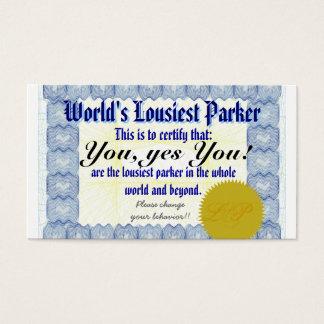 World's Lousiest Parker Business Card