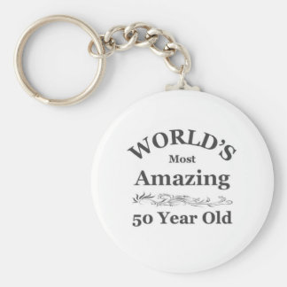 """world's most amazing 50 year old basic round button key ring"