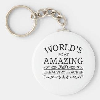 World's most amazing chemistry teacher basic round button key ring