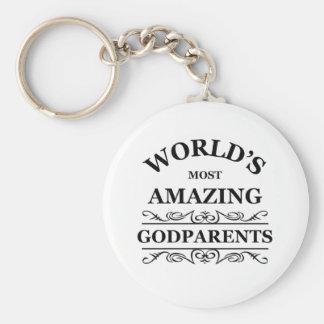 World's most amazing Godparents Basic Round Button Key Ring
