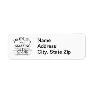 World's Most Amazing Grams Return Address Label