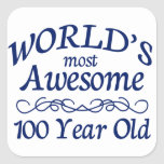 World's Most Awesome 100 Year Old Square Sticker