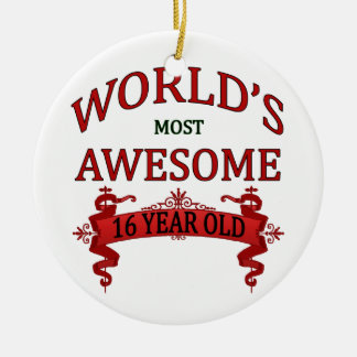 World's Most Awesome 16 Year Old Round Ceramic Decoration