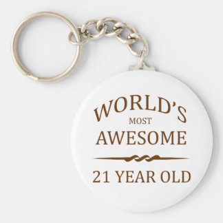 World's Most Awesome 21 Year Old Basic Round Button Key Ring
