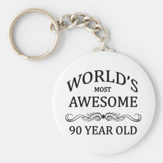 World's Most Awesome 90 Year Old Basic Round Button Key Ring