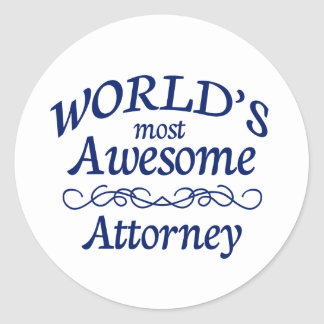 World's Most Awesome Attorney Round Sticker