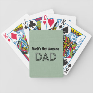 World's Most Awesome Dad SAGE GREEN Gift Item Bicycle Poker Cards