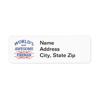 World's Most Awesome Fireman Return Address Label