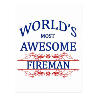 World's Most Awesome Fireman Postcard