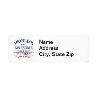 World's Most Awesome Fireman Return Address Label