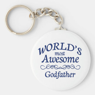 World's Most Awesome Godfather Basic Round Button Key Ring