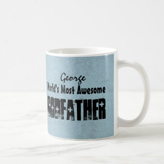 World's Most Awesome GODFATHER Blue Grunge W06C Basic White Mug