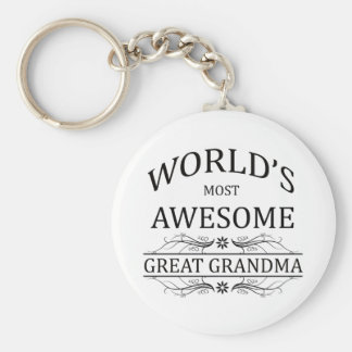 World's Most Awesome Great Grandma Basic Round Button Key Ring