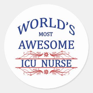 World's Most Awesome ICU Nurse Round Sticker