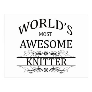 World's Most Awesome Knitter Postcard