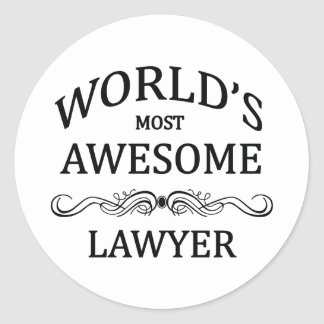 World's Most Awesome Lawyer Round Sticker