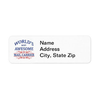 World's Most Awesome Mail Carrier Return Address Label