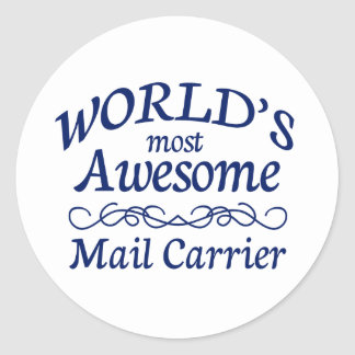 World's Most Awesome Mail Carrier Round Sticker