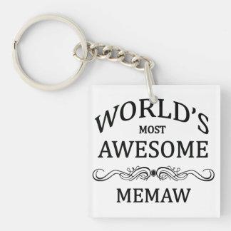 World's Most Awesome Memaw Single-Sided Square Acrylic Key Ring