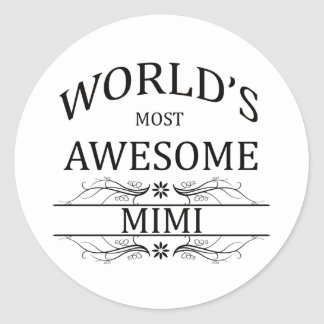 World's Most Awesome Mimi Round Stickers