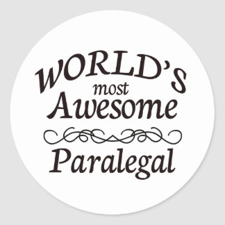 World's Most Awesome Paralegal Round Stickers