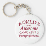 World's Most Awesome Paraprofessional Basic Round Button Key Ring
