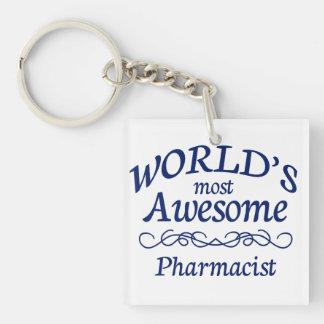 World's Most Awesome Pharmacist Single-Sided Square Acrylic Key Ring