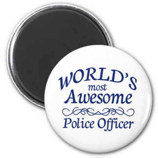 World's Most Awesome Police Officer 6 Cm Round Magnet
