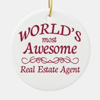 World's Most Awesome Real Estate Agent Ceramic Ornament
