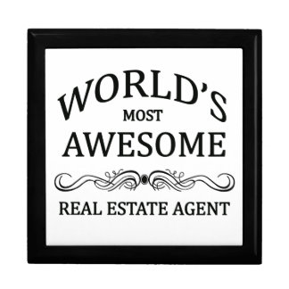 World's Most Awesome Real Estate Agent Large Square Gift Box