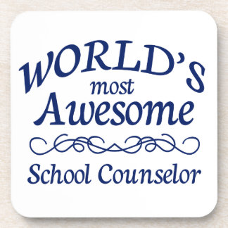 World's Most Awesome School Counselor Drink Coaster