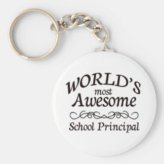 World's Most Awesome School Principal Basic Round Button Key Ring