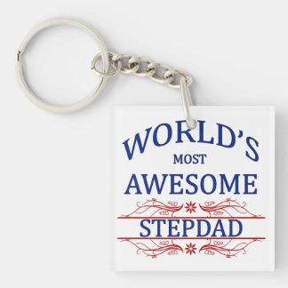 World's Most Awesome Stepdad Single-Sided Square Acrylic Key Ring