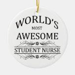 World's Most Awesome Student Nurse Round Ceramic Decoration
