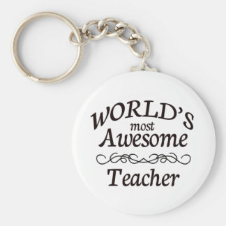 World's Most Awesome Teacher Basic Round Button Key Ring