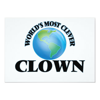 """World's Most Clever Clown 5"""" X 7"""" Invitation Card"""