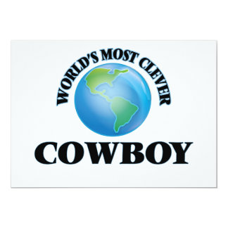 """World's Most Clever Cowboy 5"""" X 7"""" Invitation Card"""