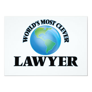"""World's Most Clever Lawyer 5"""" X 7"""" Invitation Card"""
