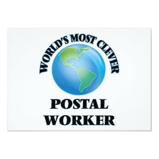 """World's Most Clever Postal Worker 5"""" X 7"""" Invitation Card"""