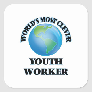 World's Most Clever Youth Worker Square Stickers