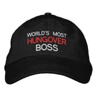 World's Most Hungover Boss Funny Drinking Embroidered Hats