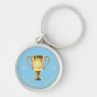 World's number one auntie monogram key ring