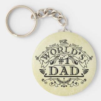 World's Number One Dad Vintage Flourish Basic Round Button Key Ring