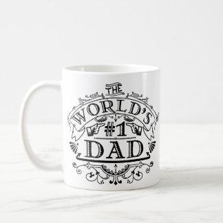 World's Number One Dad Vintage Flourish Basic White Mug