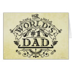 World's Number One Dad Vintage Personalised Card