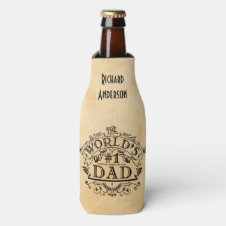 World's Number One Dad Vintage Personalized Bottle Cooler