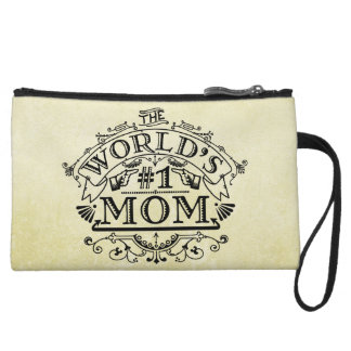 World's Number One Mom Vintage Flourish Wristlet Clutches